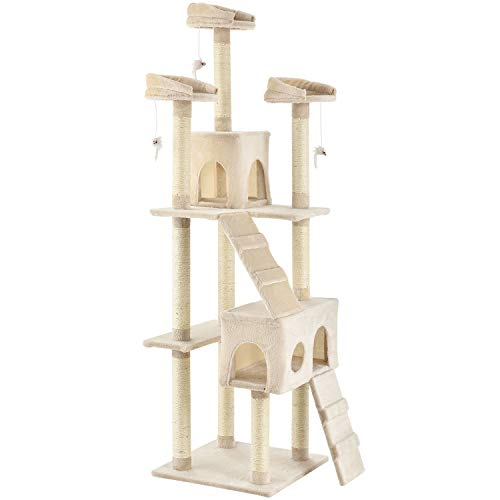 Sam´s Pet XXL Kratzbaum Amy beige – Katzenbaum mit Höhlen, Liegeflächen, Leitern & Sisal-Stämmen – Stabiler Kletterbaum für Katzen 170 cm hoch