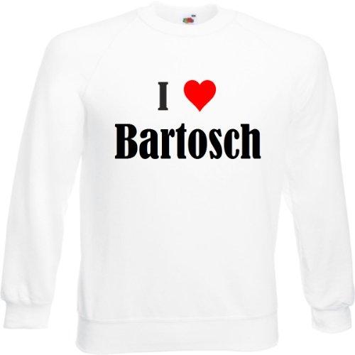 Reifen-Markt Sudadera con texto 'I Love Bartosch para mujer, hombre y niños en los colores negro, blanco y azul con estampado Blanco 152 cm