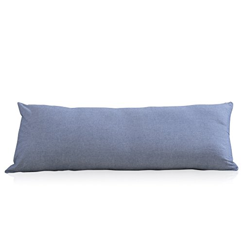 EVOLIVE 100% Cotton Pre-Washed Melange Blue Body Pillow...