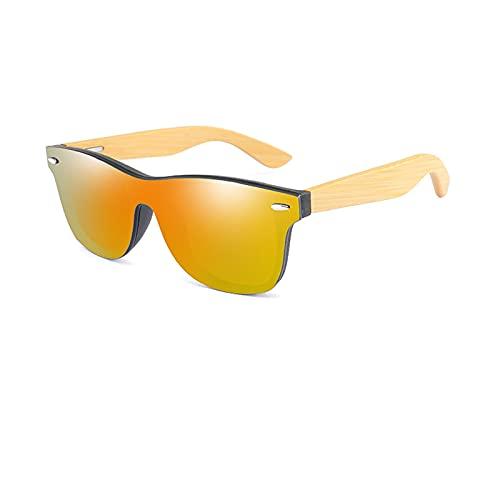 NBJSL Gafas de sol de madera Cuadradas de bambú para mujeres Hombres Espejo Gafas de sol (Exquisita caja de embalaje)