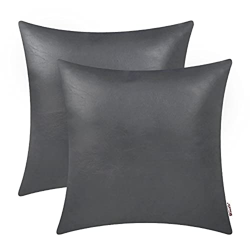 Brawarm Pack of 2 Faux Leather Throw Pillow Covers Cases 18 X 18 Inches, Moden Boho Leather Pillow Covers Cases, Decorative Pillows Couch for Living Room Garden Couch Bed Sofa Chair Charcoal Gray