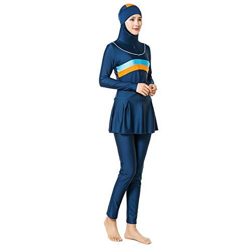 Yudesun Damen Wassersport Muslimische Islamischen Tankinis -Bademode Schwimmen Vollkörper Badeanzug Sonnencreme Strand Burkini,Dark Blue,3XL