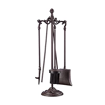 Relaxdays 5-Piece Fireplace Companion Tools, Set with Rack, Shovel, Broom, Poker and Tongs, HxWxD 51 x 18 x 18 cm, Brown