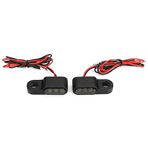 2 UNIDS 12V Lámpara de señal de ámbar Lámpara de Motocicleta LED Turn Signal Light Manillar Blinker Aleación de Aluminio Negro/CHORME (Color : Black)