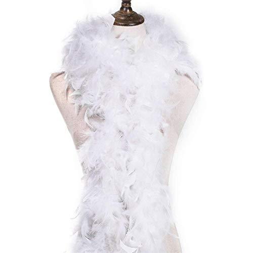Federboa 180 cm - Burlesque Kostüm Kopfschmuck Garde Lang XL Groß Boa Schal Federn Karneval Fasching zum Basteln Engelsflügel Indianer Erwachsene - Weiß