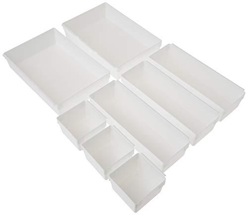 Rubbermaid Schubladenorganizer-Behälter, modular und anpassbar, 8-teiliges Küchen-Organizer-Set, weiß