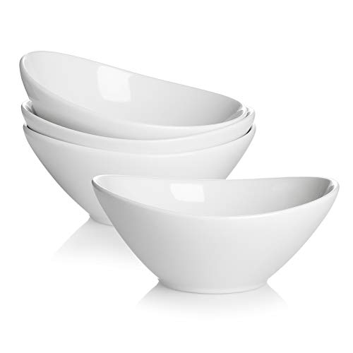 Teocera Porcelain Serving Bowls, Large Serving Dishes, 30 Ounce for Salad, Soup, Pasta, Set of 4, White