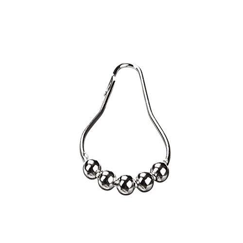 Ogquaton 12 STÜCKE Metall 5-Perlen Duschvorhang Haken Kürbis Doppel Duschvorhang Ringe Bad Lieferungen für Indoor Outdoor Duschraum Umweltfre&lich & Praktisch