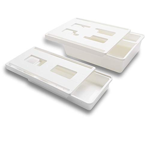FIRINER デスク下 収納ボックス 引き出し 取り付け M+S 2個セット 小物 収納 後付け 引き出し スペース活用 スライドトレー 大容量 デスク下収納 強力粘着 引隠し引き出し 便利 机下収納 小物整理 貼り付け引き出し ホワイト スマホン リモコン 文房具 カトラリー