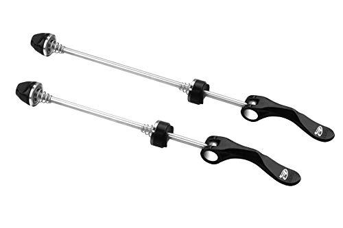 BeeChamp 1 Pair Stainless Steel Bicycle Wheel Skewers, Road Bike MTB Quick Release Axle Bolt Set (Black)