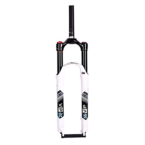 Jejy Forcella Anteriore con Sospensione 26/27.5/29 Mountain Bike Viaggio: 120mm, Non Conico Forcella Aria 1 1/8 Ultralight Lega di Magnesio MTB Bicicletta Outdoor (Colore: Bianco, Misura : 29)
