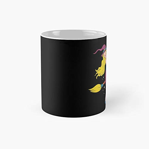 Witch On Broomstick Classic Mug Birth-day Holi-day Gift Drink Home Kitchen