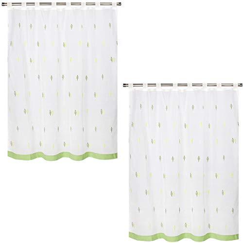 VISTE TU HOGAR Pack 2 Cortina Corta para Cocina de Visilo, Estilo Simple y Elegante 140 x 145cm, Arboles Verdes