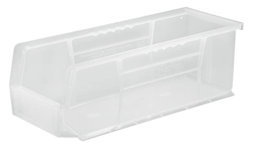 Quantum QUS234 Plastic Storage Stacking Ultra Bin, 14-Inch by 5-Inch by 5-Inch, Clear, Case of 12