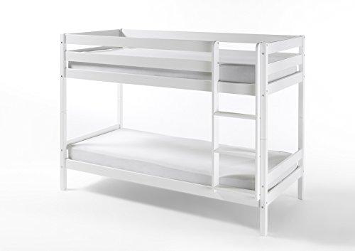 HOMELINE Weiss Kinderbett Etagenbett mit Rolllattenroste Massiv Hochbett Spielbett Stockbett 90x200 cm Matratzen geeignet