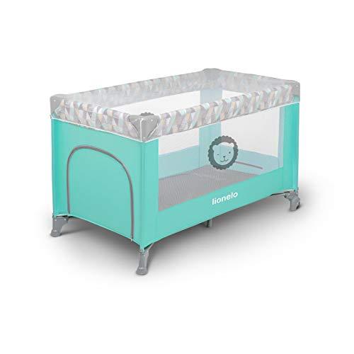 Lionelo Adriaa Baby Bett Laufstall Baby Reisebett Baby ab Geburt bis 15kg Seiteneingang Lockguard System und Blockade der Räder Moskitonetz Tragetasche zusammenklappbar (Türkis) - 6