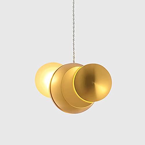 OWEM Candelabro Dorado Lámpara Giratoria De Aluminio Luces Colgantes del Cuerpo Lámpara De Noche LED Ajustable En Altura Café Dormitorio Comedor Pasillo Sala De Estar Estudio Balcón