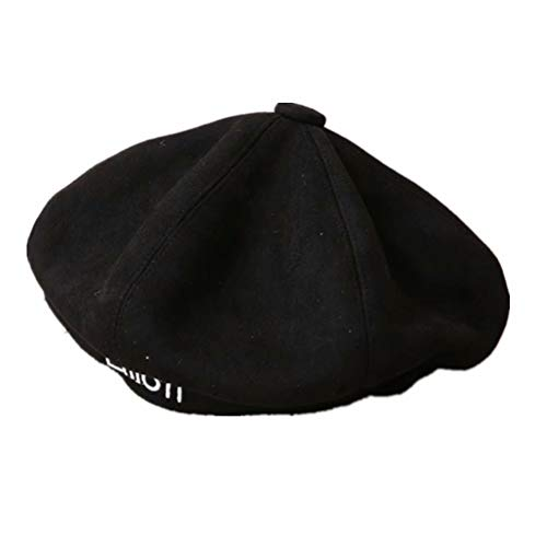 FaLaiDi Mädchen Kpop Autumn Outdoor Suede Letter Beret Octagonal Hat Pumpkin Painter Hat Letter Cap Good Gift for Fans kostenloschwarz2