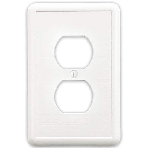 Questech White Linen Decorative Wall Plate/Switch Plate/Outlet Cover (Single Duplex)