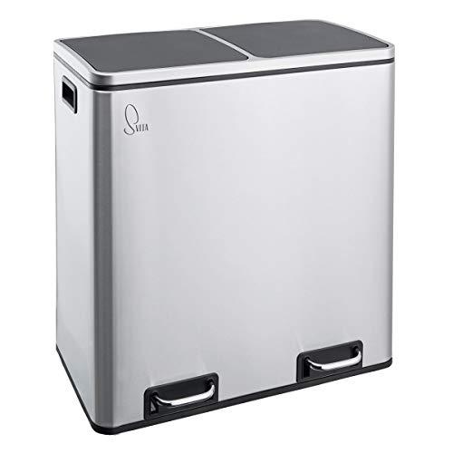 SVITA TM2X30 Grau matt Treteimer 60 Liter Abfalleimer Mülleimer Design Mülltrennung Papierkorb Küchen-Ordnung Trennsystem