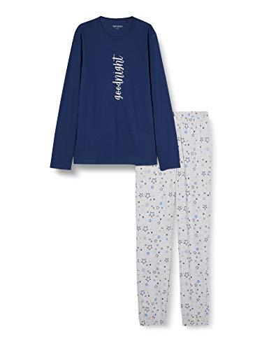 Schiesser Mädchen Schlafanzug lang Pyjamaset, dunkelblau, 164
