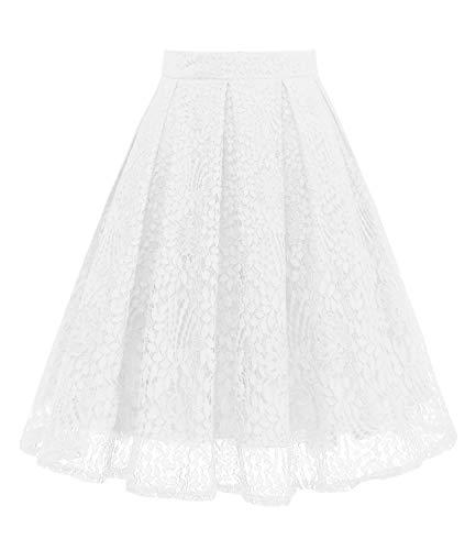 GirstunmBrand Damen Vintage A Linie Spitze Rock mit Taschen Weiß XL