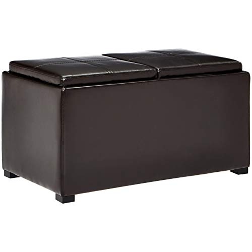 Here's a second nested cube ottoman, this time in dark espresso color. The secondary ottoman can provide extra comfort for guests or be hidden away for tidiness.