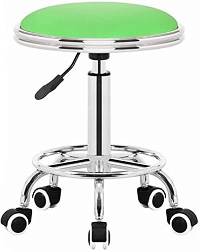 HZYDD Taburete de bar para spa, silla de bar, silla de bar, elevador hidráulico de 360 °, cojín de piel sintética cómodo (blanco, verde) (color: blanco) (color: verde)