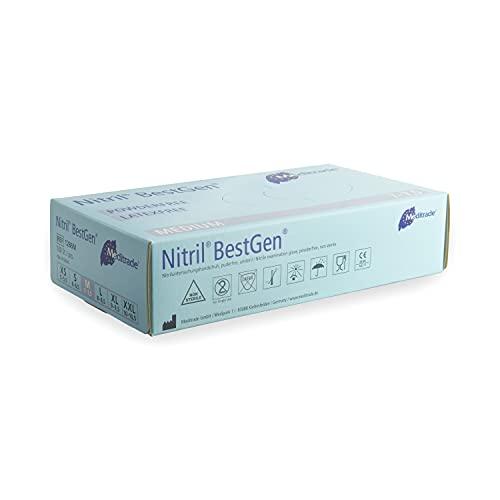 Meditrade® Nitril® BestGen® Nitrilhandschuhe in blau, Einweghandschuhe für den Medizinbereich oder Lebensmittel, Untersuchungshandschuhe, Einmalhandschuhe, latexfrei, DIN EN 455, 100 Stück, Größe M