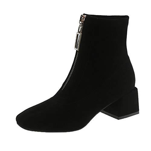 Youpin Botas de otoño para principios de invierno para mujer, botas de tacón alto, botas de tobillo para mujer, tacón cuadrado, 6 cm, A1877 (color: negro, talla de zapato: 5.5)