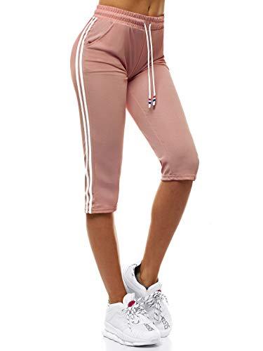 OZONEE Damen Sporthose Kurz Shorts Sweatpants Trainingshose Kurze Hose Bermuda Sportshorts Jogginghose Freizeithose Sweatshorts Damenhose Sport Capri Caprihose JS/1021/D16 Hellrosa XL