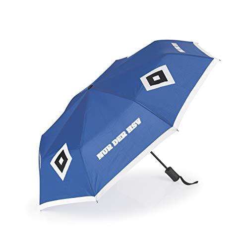 Hamburger SV Regenschirm mit Farbwechsel-Effekt | Farbwechsel bei Regen von Weiß auf Schwarz mit Schriftzug NUR DER HSV | Griff mit Tragekordel | Edelstahl [blau]
