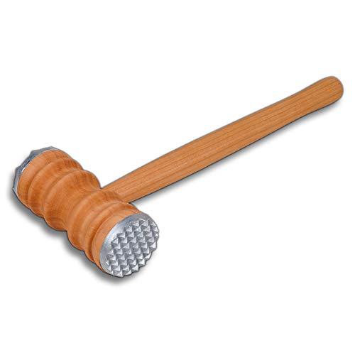 HOFMEISTER® Fleischhammer, Metall-Besatz auf beiden Seiten, aus hochwertigem geöltem Kirsch-Holz, 100% Made in EU,27,5 cm,hygienischer Fleisch-Klopfer,27, 5 x 10,5 x 4,5 cm