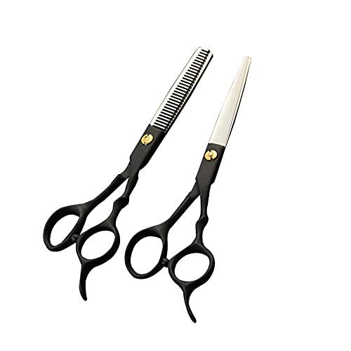 XJPB Sistemas de Corte de Pelo Set Peluquería Scissors Kit de 6.0 Pulgadas 6CR de Acero Inoxidable para barbero Salón Hombres Mujeres Grifo Manija Negro Manija