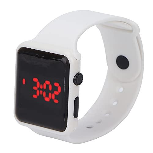 LZKW Reloj electrónico, diseño Luminoso y Ligero, práctico y práctico Reloj de Pulsera portátil, Duradero para Regalos y Accesorios(White)