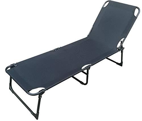 Mojawo Bequeme Gartenliege Sonnenliege Liege Campingliege klappbar schwarz L188xB57xH30cm