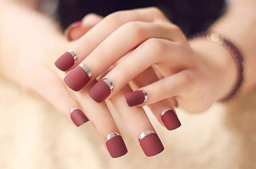 Uñas postizas 24pcs Lady Artificial False Nails Tips Simple Frosted Claret-rojo Metal Color Estilo Opuesto Clavo francés Plata
