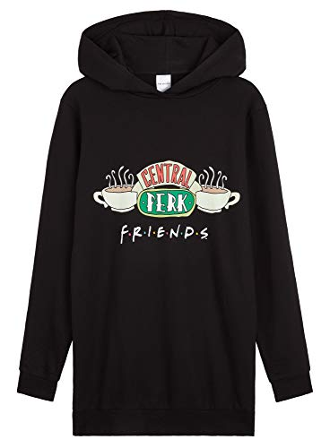 Friends Hoodie Damen, Oversize Pullover Damen und Teenager Madchen, Hoodie Kleid, Lang Sweatkleid Damen S-XL, Baumwolle Sweatshirt, Geschenke für Frauen (Schwarz, S)