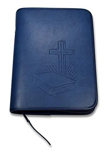 MaMeMi Bibelhülle aus Kunstleder mit Prägung, Blau, 18,5x4x13cm