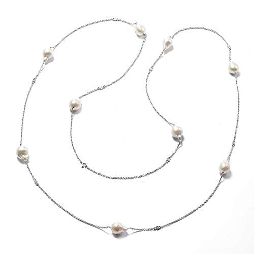 Isabella Liu Twilight Collection Baroque Edison Pearl and Diamond Necklace Size 60 in Rhodium Plated 925 Sterling Silver, Silver wt 13.56 Gms