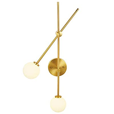 BAODEN 2 Lights Globe Wall Sconce Modern Industrial Wall Lamp with G4 Bulb Mid Century Rotatable Light Fixture Brushed Brass Finished with White Globe Glass Lampshade (Gold Color)