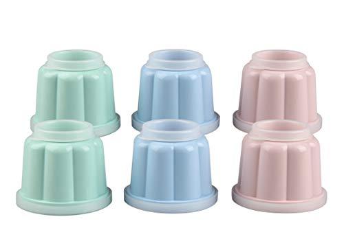 Dr. Oetker 6er Puddingförmchen mit Deckeln 150ml, (Farbe: Rose/Hellgrün/Hellblau) Menge: 1 x 6er Set