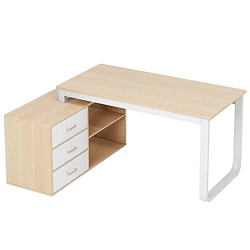 Escritorio de computadora en forma de L con 3 cajones, escritorio de juegos para ordenador portátil, moderno y resistente para estaciones de trabajo, muebles de oficina en casa