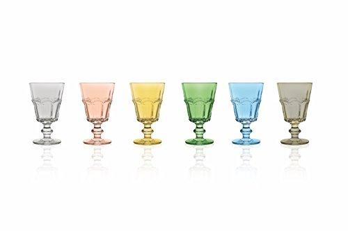 Villa d\'Este Home Tivoli Floyd Set aus 6Weingläsern, Glas, Mehrfarbig, Maße: 8,4x 8,4x 14,3cm