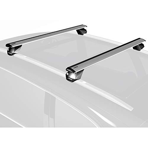 "53"" Pro Universal Roof Rack Cross Bars with keyed Locks - Fit Raised Rails Silver Color"