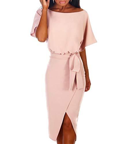 Ajpguot Damen Kleid Rundhals Kurzarm Sommerkleid Asymmetrisch Schlitz Strandkleid Einfarbig Knielang Kleider Freizeitkleid mit Gürtel Partykleid (Hellrosa, S)