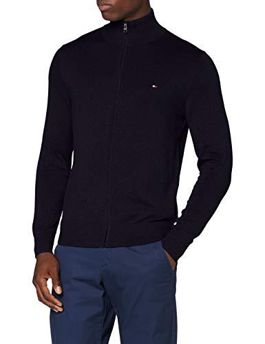 Tommy Hilfiger Herren Organic Cotton Blend Zip Through Pullover, Desert Sky Heather, M