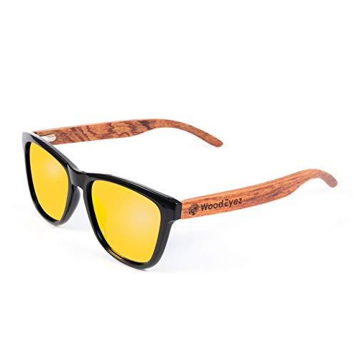 WoodEyez - Die Holz Sonnenbrille - mit Holzbügeln für Damen & Herren, Polarisierende Brillengläser mit UV 400 Schutz (Cat 3) für Apres Ski, Strand, Wassersport und Alltag (Rot)