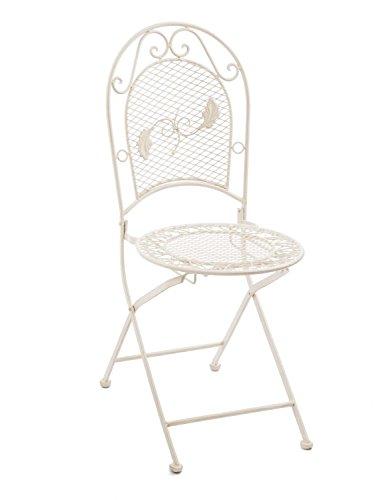aubaho Chaise de Jardin Pliable - Fer forgé - Style Antique - crème/Blanc - 9 kg
