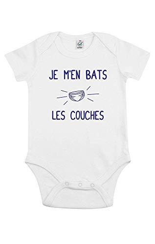 TSHIRT corner - Je m'en Bats les Couches - Body Bébé - Idée Cadeau Noël - Humour - Drôle - Coton Bio - Blanc - 0 à 3 mois